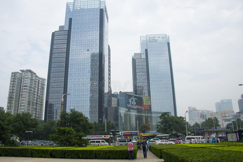 Azja Chiny, Pekin, Środkowy plac, nowożytna architektura obraz stock