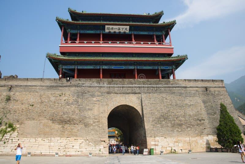 Azja Chiny, Pekin, historyczni budynki wielki mur Juyongguan, północy wierza obrazy royalty free