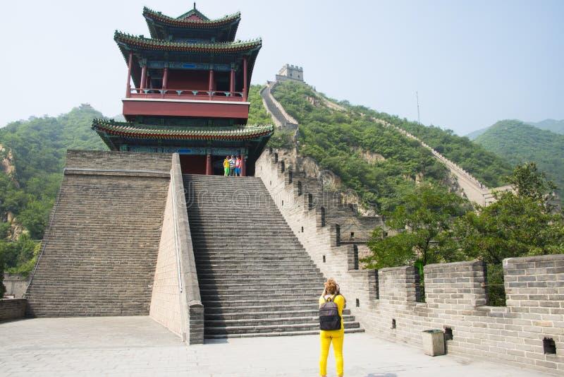 Azja Chiny, Pekin, historyczni budynki wielki mur Juyongguan, północy wierza fotografia stock