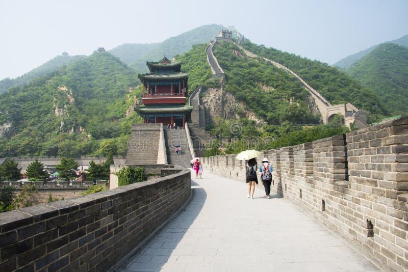 Azja Chiny, Pekin, historyczni budynki wielki mur Juyongguan, północy wierza zdjęcia royalty free