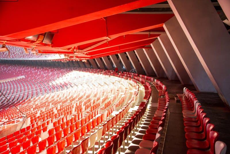 Azja Chiny, Pekin, Krajowy stadium, wewnętrzna struktura widownia stojak zdjęcie royalty free