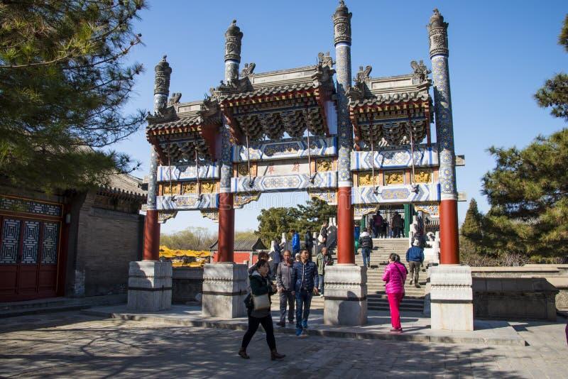 Azja Chiny, Pekin lato pałac, wiosny sceneria, Pamiątkowa brama zdjęcia stock