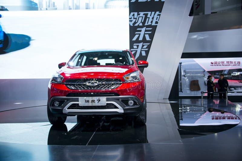 Azja Chiny, Pekin, 2016 międzynarodowych samochodów wystaw, salowa powystawowa sala, chery ï ¼ Œintermediate SUV samochód -- Tigg obrazy stock