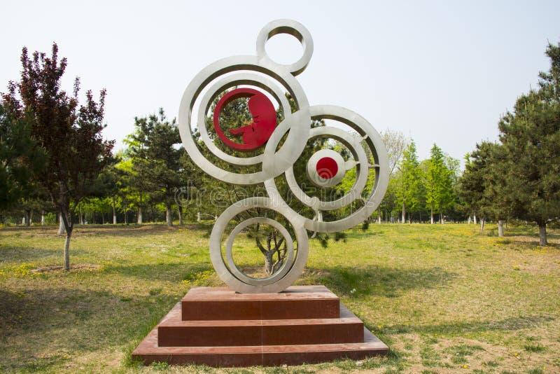 Azja Chiny, Pekin, słońce pałac park, Krajobrazowa rzeźba, oczkowanie fotografia stock