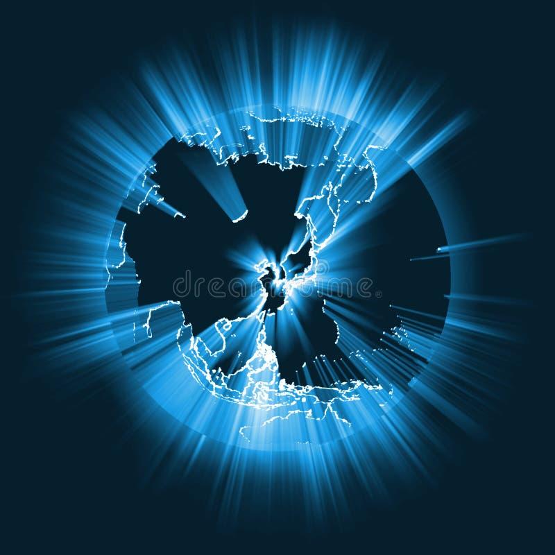 Azja lekkiego promienia rozjarzony globalny raca ilustracja wektor