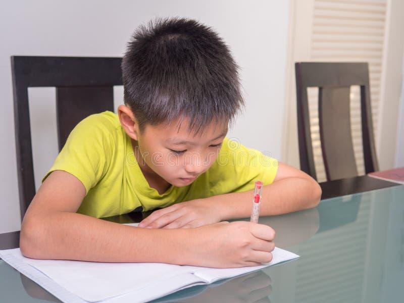 Azja mała studencka chłopiec studiuje jego pracę domową i robi zdjęcie stock