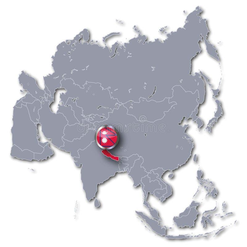 Azja mapa z Nepal ilustracja wektor