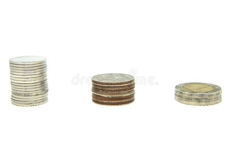 Azja monety sterty na białym tle obrazy stock