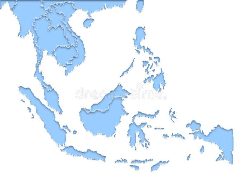 Azja Południowo-Wschodnia mapy region i błękit ilustracja wektor