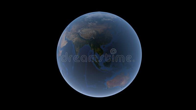 Azja Południowo-Wschodnia, Oceania i Australia na Ziemskiej piłce, odosobniona kula ziemska, 3D rendering ilustracji