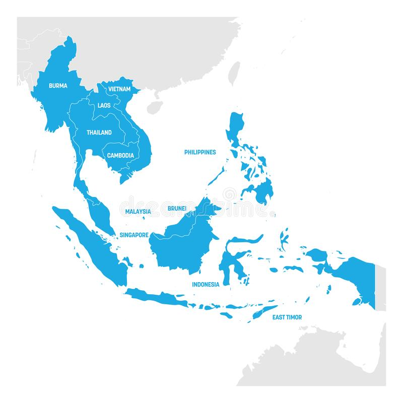Azja Południowo-Wschodnia region Mapa kraje w southeastern Azja również zwrócić corel ilustracji wektora ilustracji