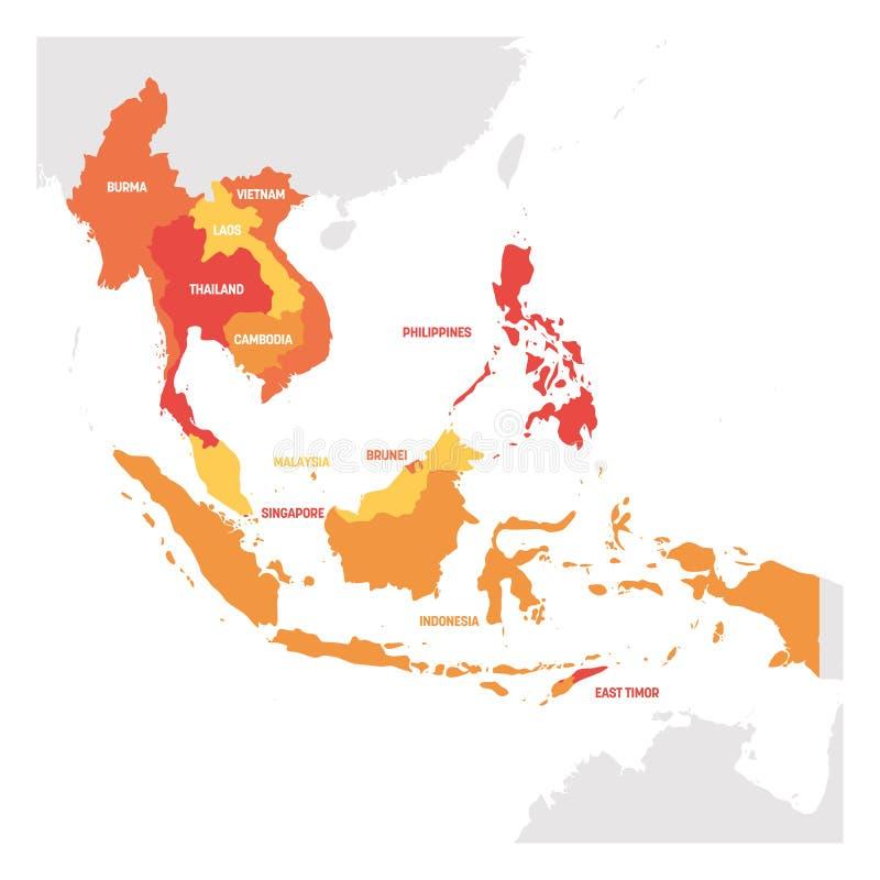 Azja Po?udniowo-Wschodnia region Mapa kraje w southeastern Azja r?wnie? zwr?ci? corel ilustracji wektora ilustracja wektor
