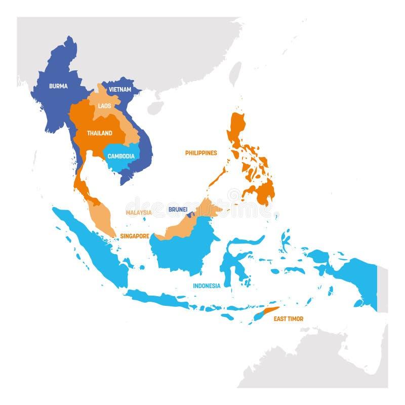 Azja Po?udniowo-Wschodnia region Mapa kraje w southeastern Azja r?wnie? zwr?ci? corel ilustracji wektora ilustracji