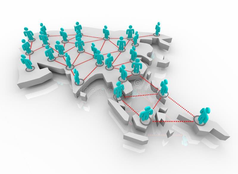 Azja - sieć ludzie ilustracja wektor