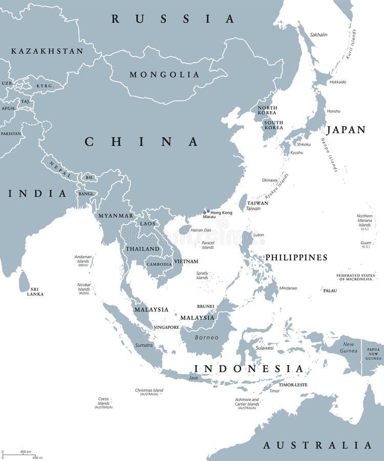 Azja Wschodnia polityczna mapa royalty ilustracja