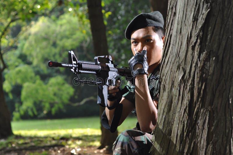 azjata żołnierz szturmowy sygnalizacyjny fotografia stock