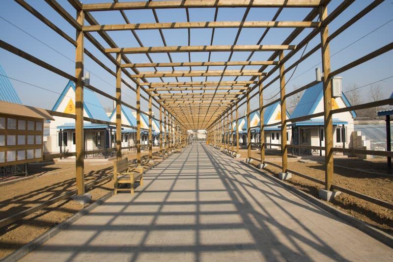 Azjata Chiny, Pekin, geotermiczny expo ogród drewniany deptak fotografia royalty free
