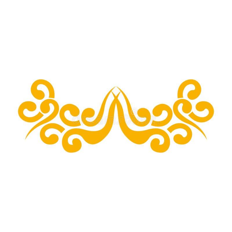 Azjata chmurnieje ikonę ilustracja wektor