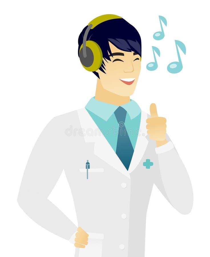 Azjata doktorski słuchanie muzyka w hełmofonach ilustracji