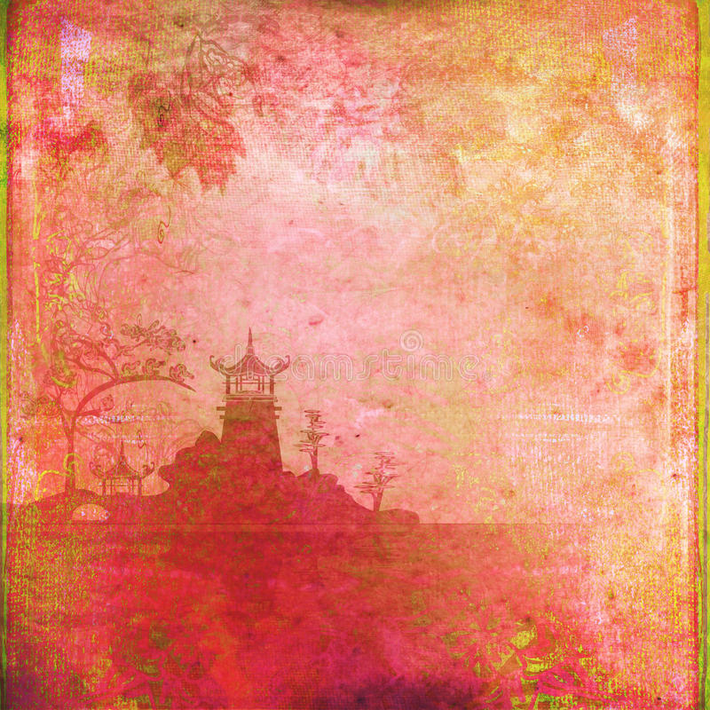 Azjata Krajobraz royalty ilustracja