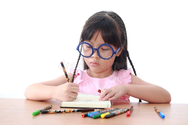 azjata książki remisu dziewczyna trochę zdjęcia stock