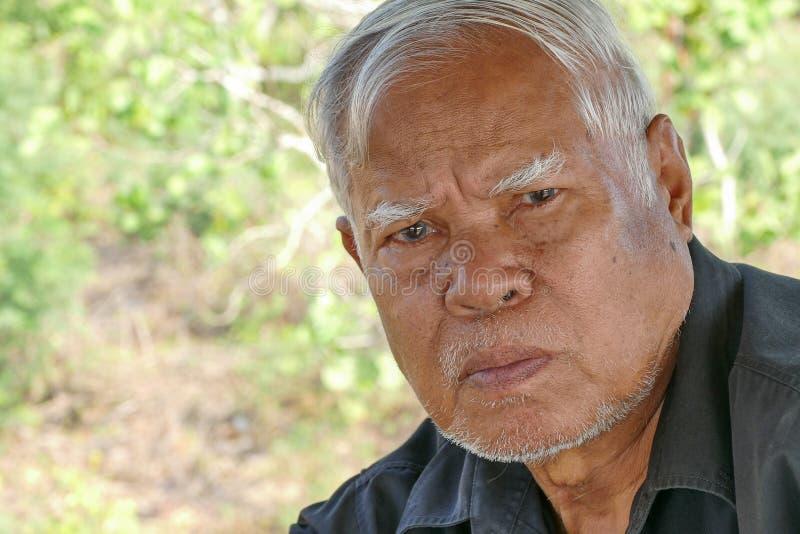 Azjata mężczyzna dojrzała twarz obraz stock
