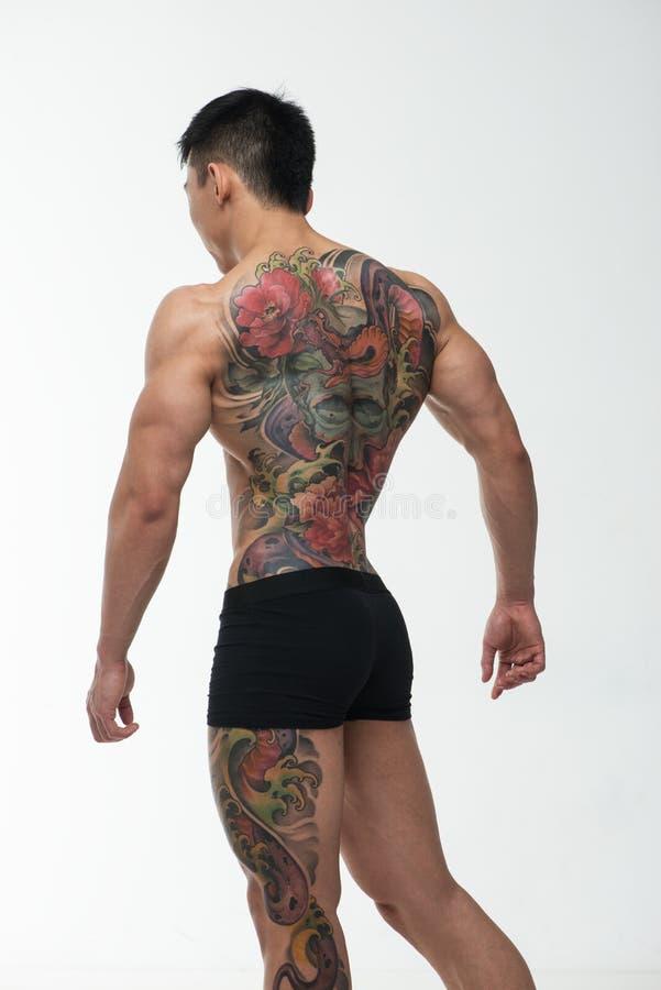 Azjata model z tatuażem obrazy royalty free