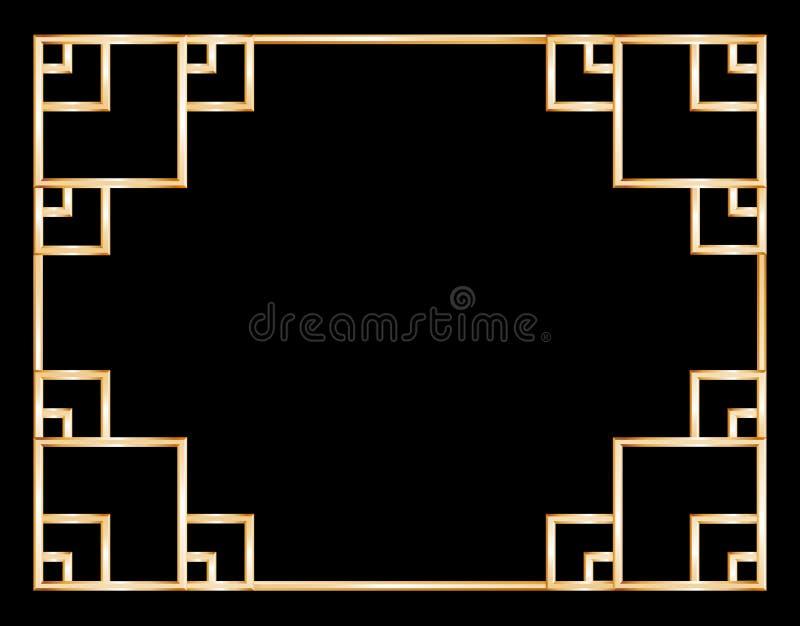 Azjata ornamentował złotą ramę na ciemnym tle royalty ilustracja