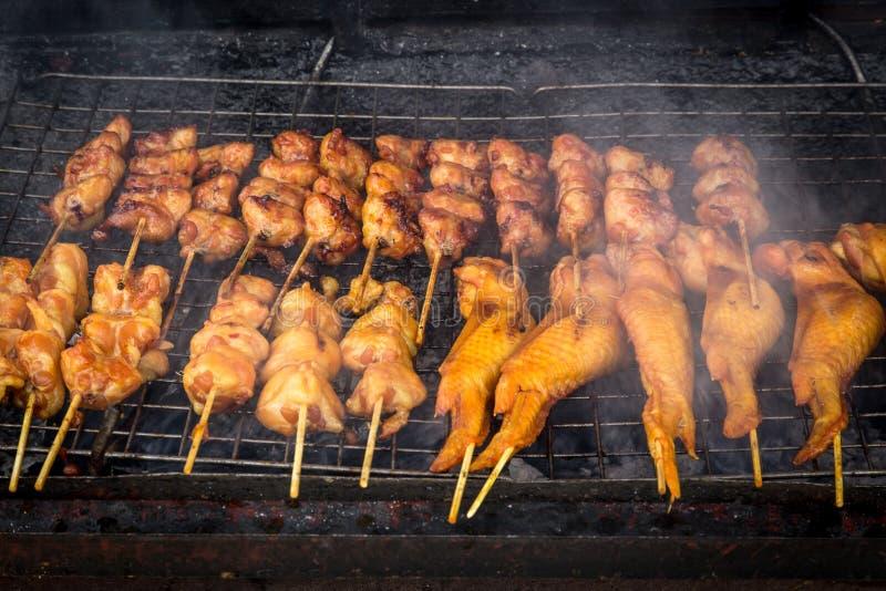 Azjata stylowy kurczak lub wieprzowina grill, Tajlandzki BBQ zdjęcie stock