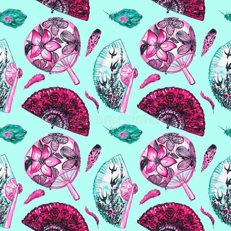 Azjata wachluje z czereśniowym okwitnięciem, dymówkami i round z lotosami, hiszpańszczyzny z czarnymi maczkami, piórka ilustracja wektor