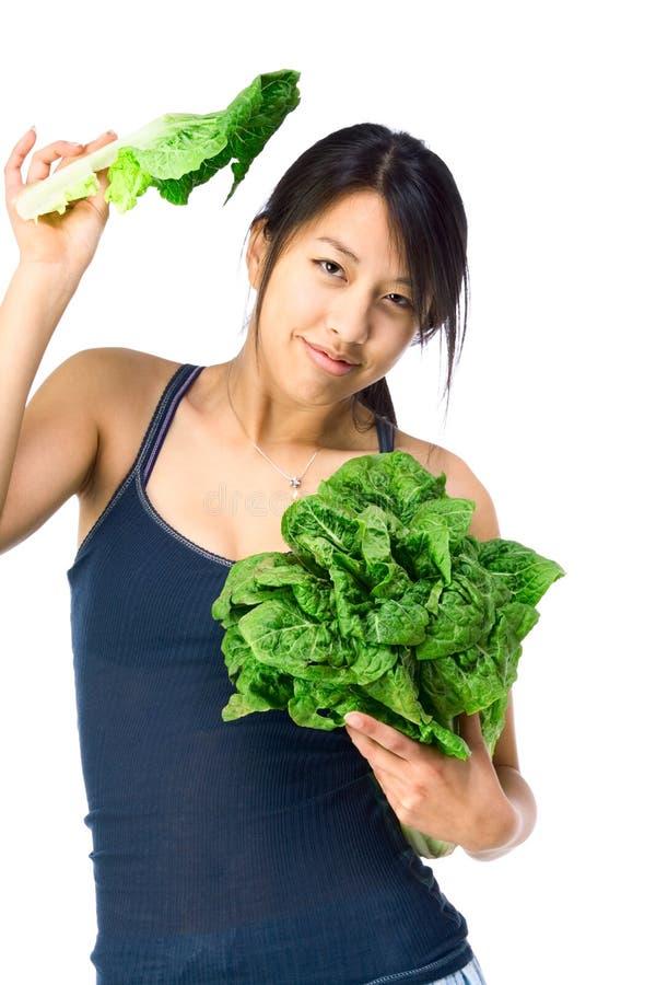 azjata zieleni warzyw kobiety potomstwa obrazy royalty free