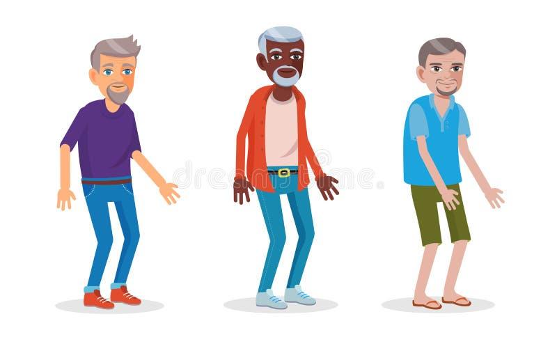 Azjaty, afrykanina i europejczyka mężczyźni w seniorze, starzeją się ilustracji