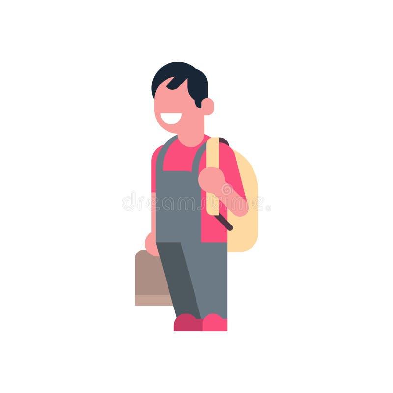 Azjatyccy chłopiec mienia książki plecaka dziecko w wieku szkolnym odizolowywali małego początkowego ucznia nad białego tła płask ilustracji
