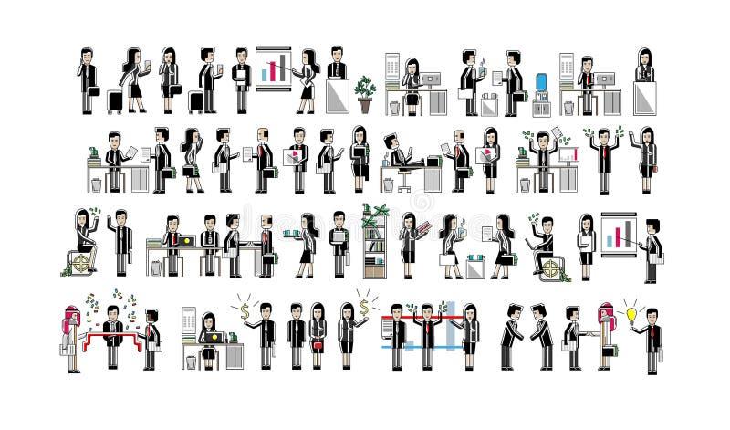 Azjatyccy ludzie biznesu odizolowywali dużego set ilustracja wektor