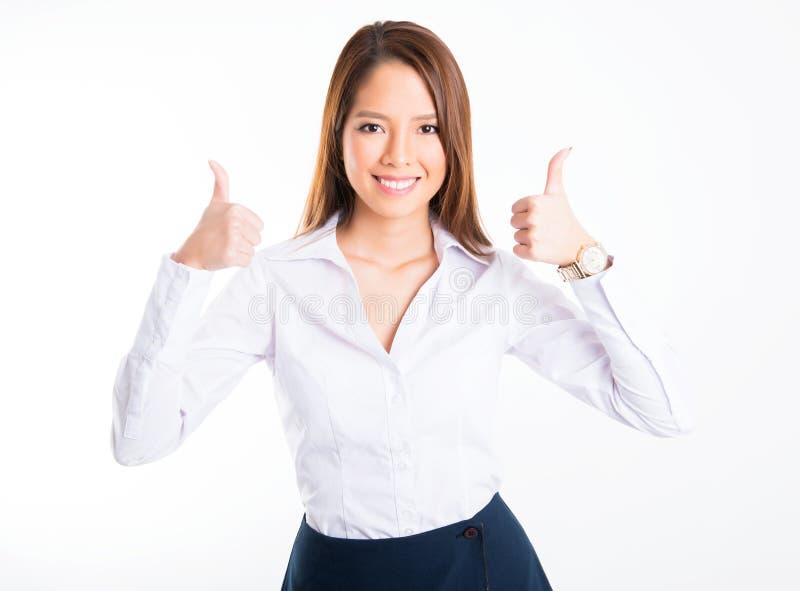 Azjatycka biznesowa kobieta na białym tle z kopii przestrzenią obrazy stock