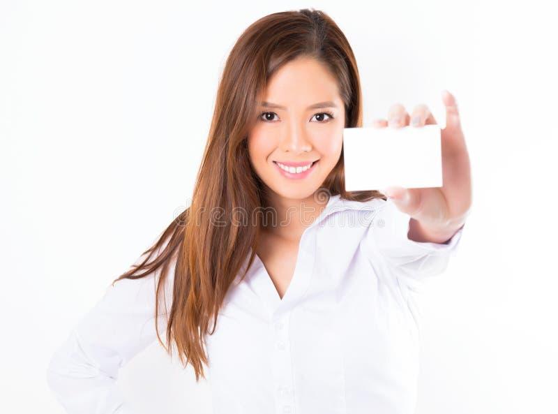 Azjatycka biznesowa kobieta na białym tle z kopii przestrzenią zdjęcia royalty free
