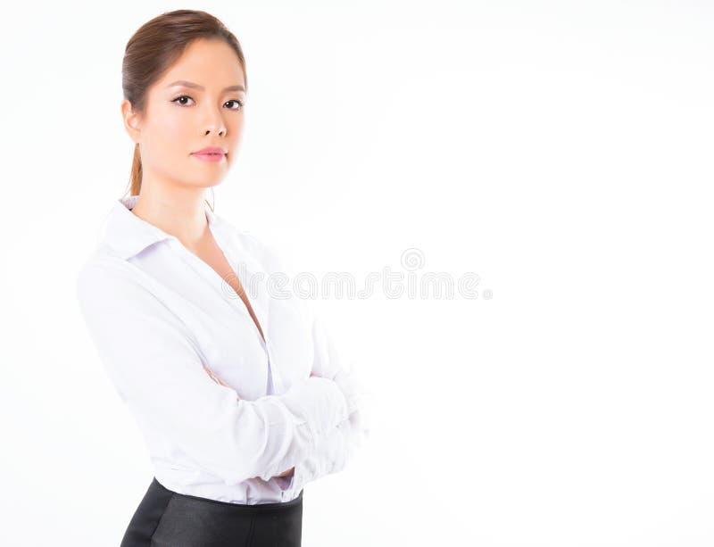 Azjatycka biznesowa kobieta na białym tle z kopii przestrzenią obrazy royalty free