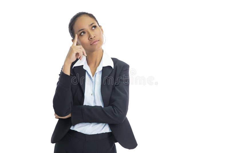 Azjatycka biznesowa kobieta udaje jak główkowanie podczas gdy patrzejący abov obrazy stock