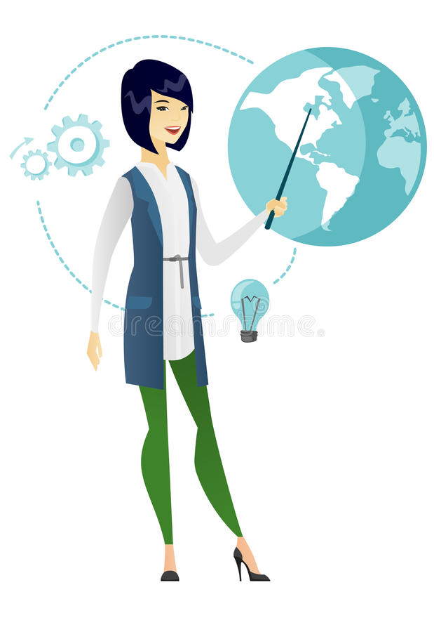 Azjatycka biznesowa kobieta wskazuje przy kulą ziemską royalty ilustracja