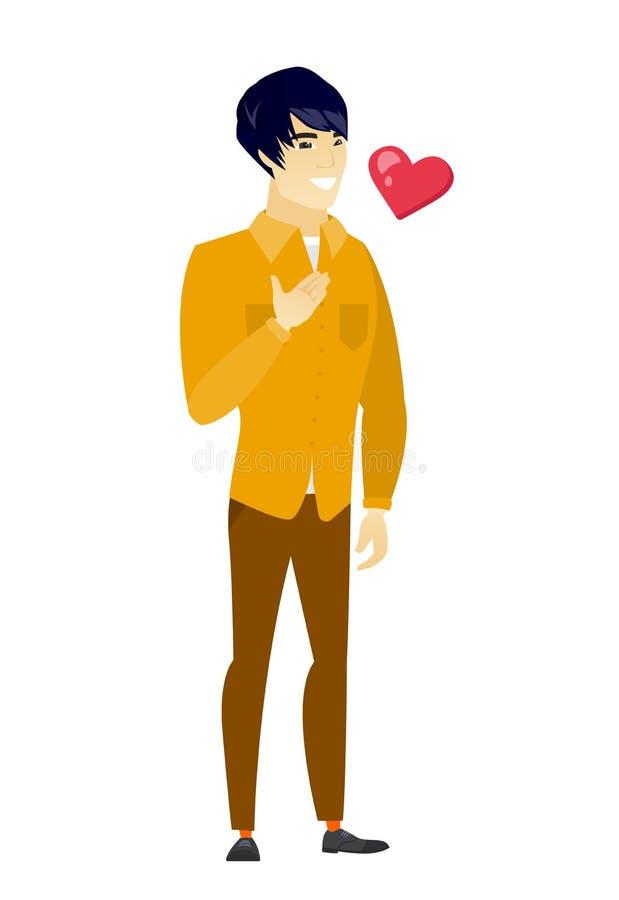 Azjatycka biznesowego mężczyzna mienia ręka na jego klatce piersiowej royalty ilustracja