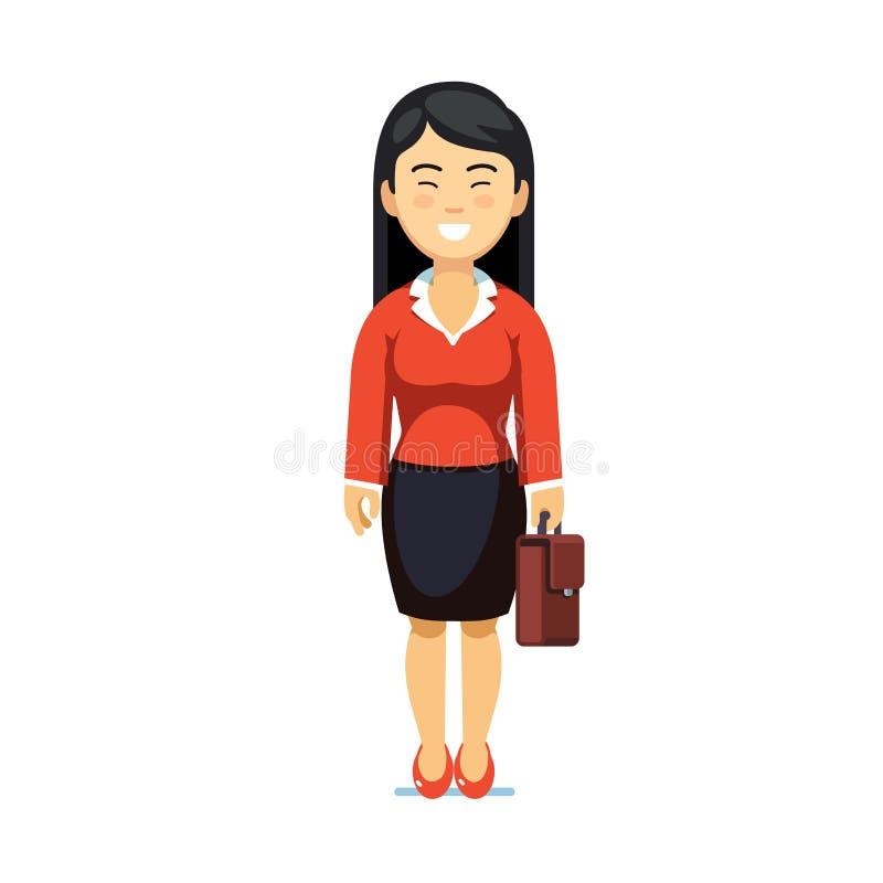 Azjatycka biznesowej kobiety pozycja z walizką ilustracja wektor