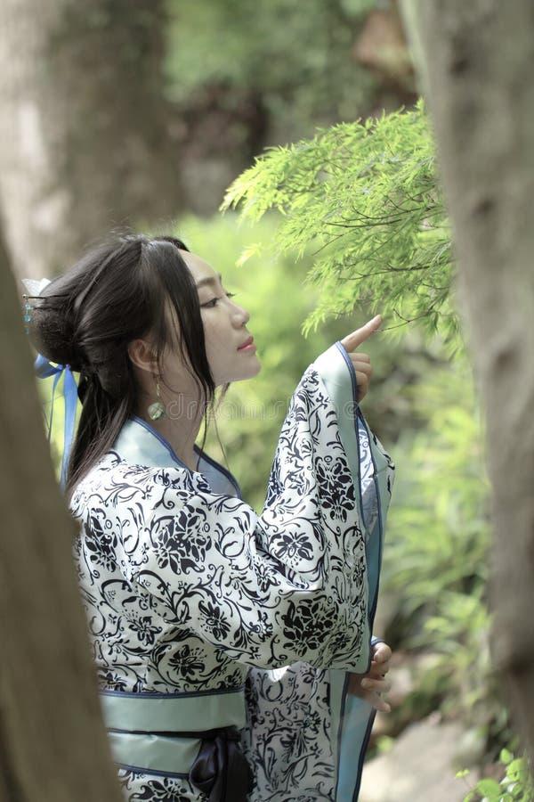Azjatycka Chińska kobieta w tradycyjnej Błękitnej i białej Hanfu sukni, sztuka w sławnym ogródzie, stojak pod klonowym drzewem zdjęcie royalty free