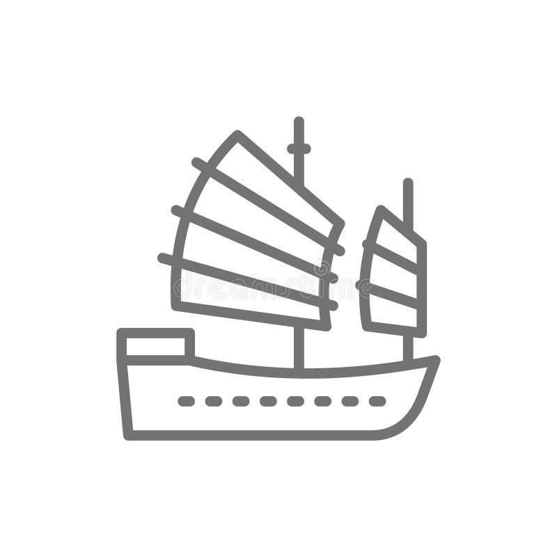 Azjatycka dżonki łódź, Hong Kong statku linii ikona royalty ilustracja