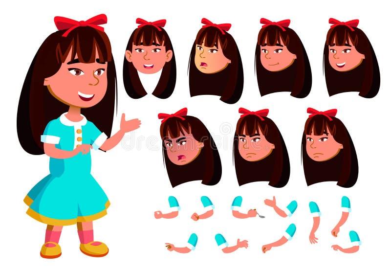 Azjatycka dziewczyna, dziecko, dzieciaka wektor Twarzy emocje, Różnorodni gesty Animaci tworzenia set Odosobniony Płaski postać z ilustracji