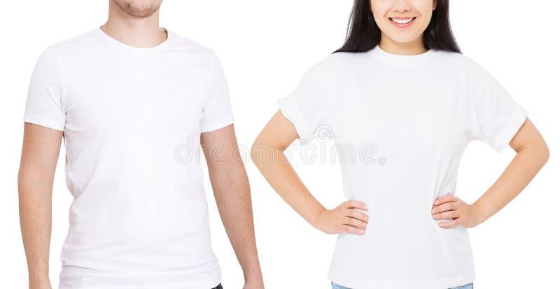 Azjatycka dziewczyna i mężczyzna w pustej szablonu t koszula odizolowywającej na białym tle Facet i młoda kobieta w tshirt z kopi zdjęcie royalty free