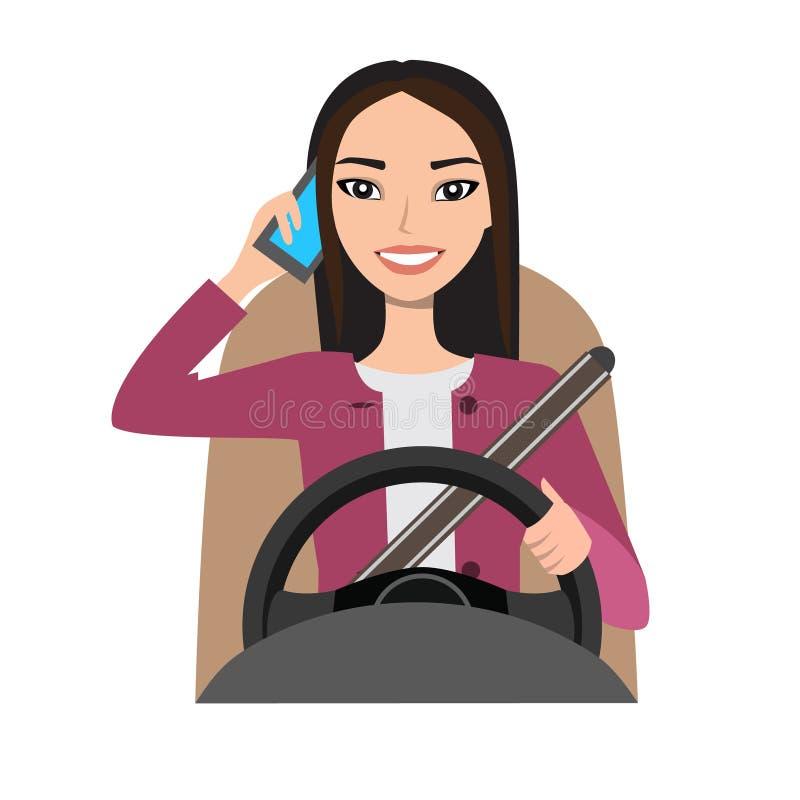 Azjatycka kobieta jedzie samochód opowiada na telefonie royalty ilustracja