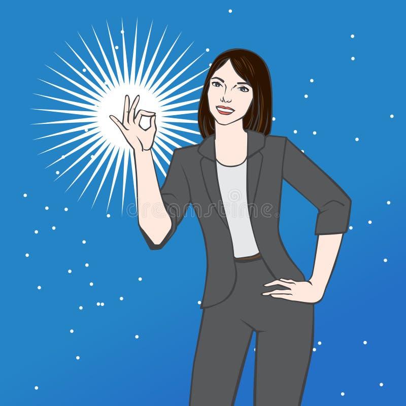 Azjatycka kobieta pokazuje ok wektorową ilustrację ilustracja wektor