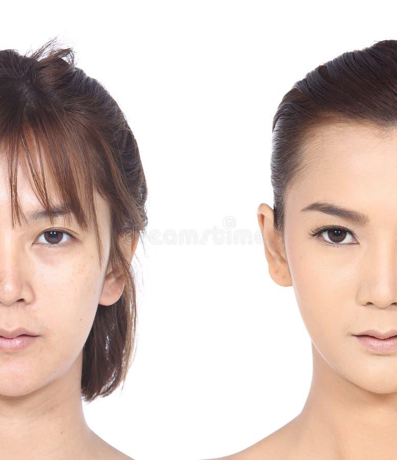 Azjatycka kobieta przed i po uzupełniał włosianego styl żadny retusz, obraz royalty free