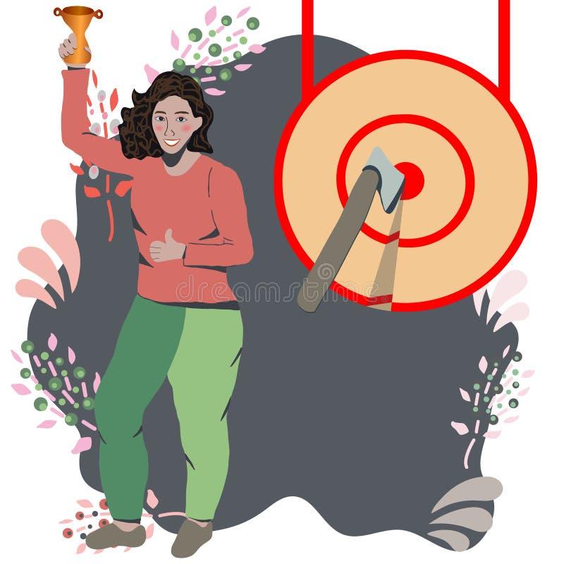 Azjatycka kobieta stoi bezczynnie ogromnego cel ilustracja wektor