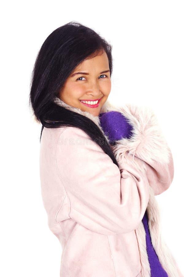Azjatycka kobieta w zimie obrazy stock